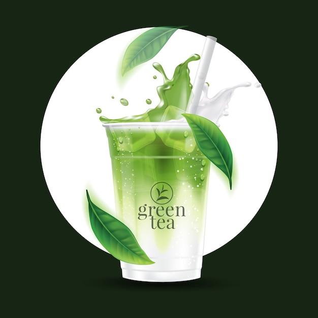 Реалистичная чашка для напитка из зеленого чая матча со льдом Premium векторы