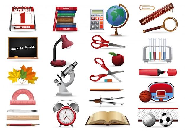現実的なアイコンは、学校をテーマに設定します。学校のアイコンコレクションに戻る。図 Premiumベクター