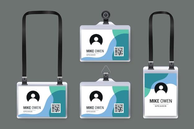Collezione di cancelleria per carte d'identità realistiche Vettore gratuito