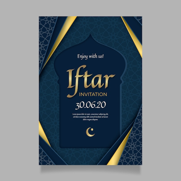 Realistic iftar indian invitation template Free Vector