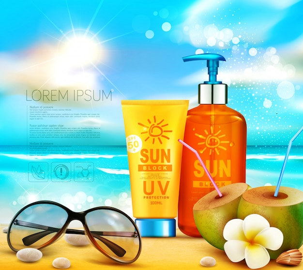 Realistic illustration of 3d bottles of sun protection cosmetic products. sunblock cream standing on the beach Premium Vector