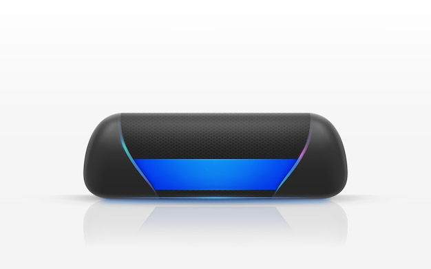 Realistic illustration of black portable speaker isolated on white background. Free Vector