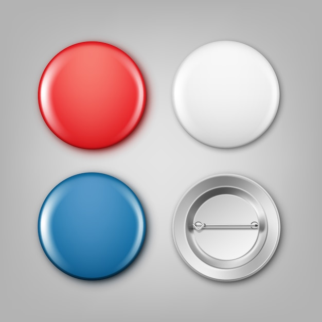 Realistic illustration of blank white, blue and red badges Free Vector