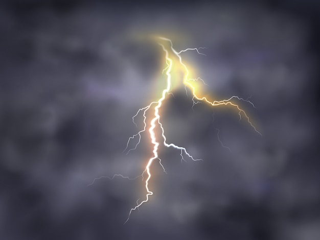 Realistic illustration of bright thunderbolt, lightning strike in clouds on night background. Free Vector