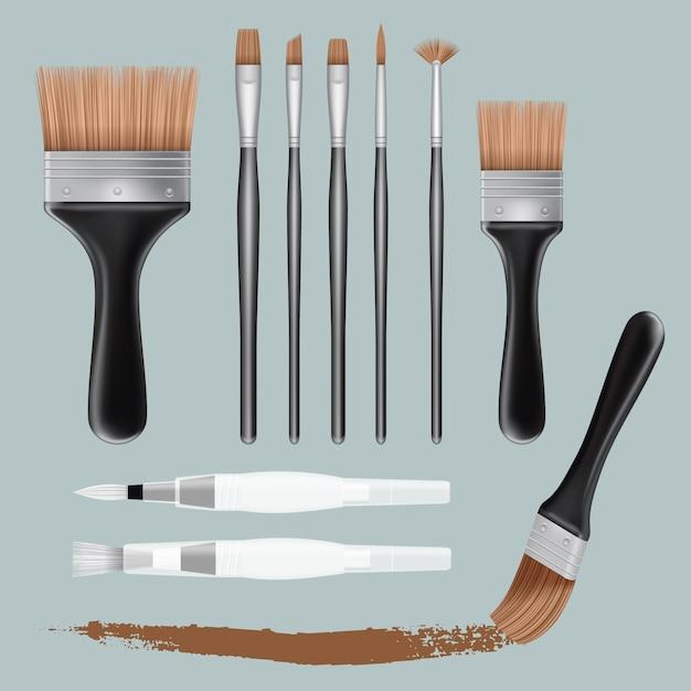 Realistic illustration of brush paint mockups for web Premium Vector