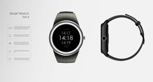 Realistic illustration of concept smart watch, technology functions and template text. Premium Vector