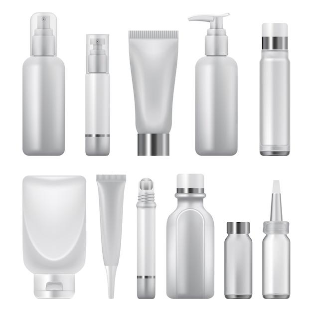 Realistic illustration of cosmetics pack mockups for web Premium Vector