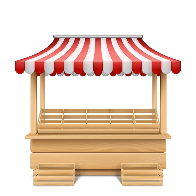 Realistic illustration of empty market stall with red and white striped awning Free Vector