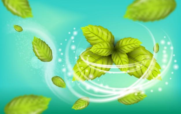 Реалистичные иллюстрации flying mint leaf vector Premium векторы