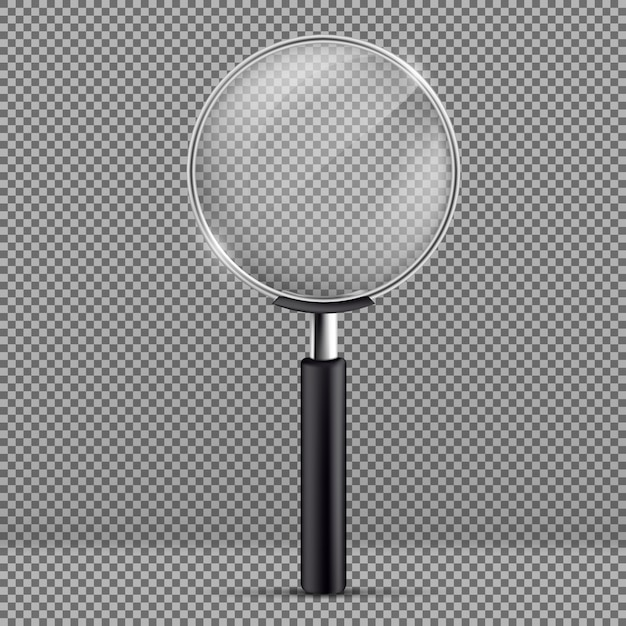 Realistic illustration of magnifier with black plastic handle Free Vector