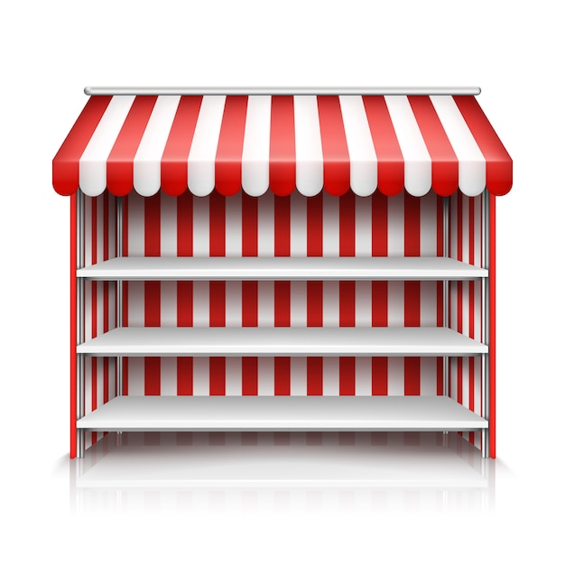 Realistic illustration of market stall with red and white striped awning Free Vector