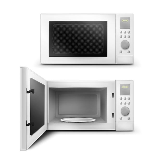 Realistic illustration of the microwave oven Free Vector