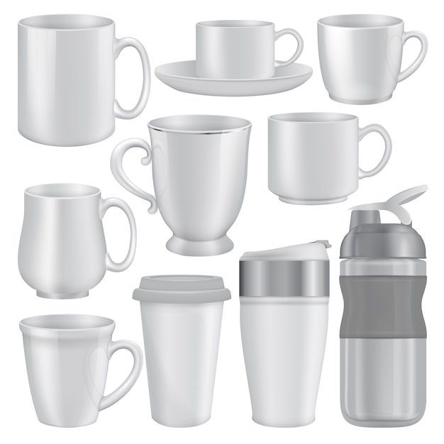 Realistic illustration of mug cup mockups for web Premium Vector