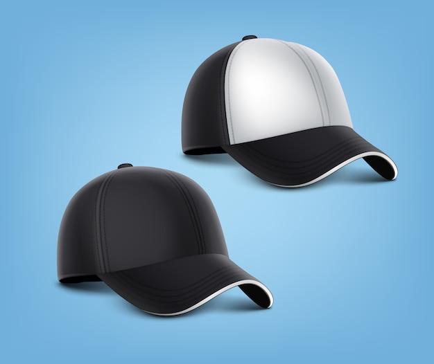 고립 된 흰색 세부 사항 가진 검은 모자의 현실적인 그림 무료 벡터