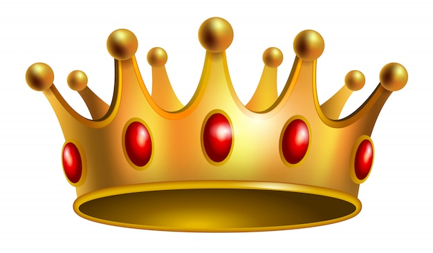 Realistic illustration of gold crown with red gems. Jewelry, award, royalty.  Free Vector