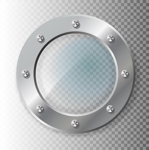 Реалистичные иллюстрации металлических иллюминаторов различной формы на прозрачной Premium векторы