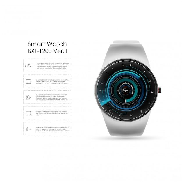 スマートな時計、技術機能、テンプレートテキストの現実的なイラスト。スマートなイラスト。 Premiumベクター