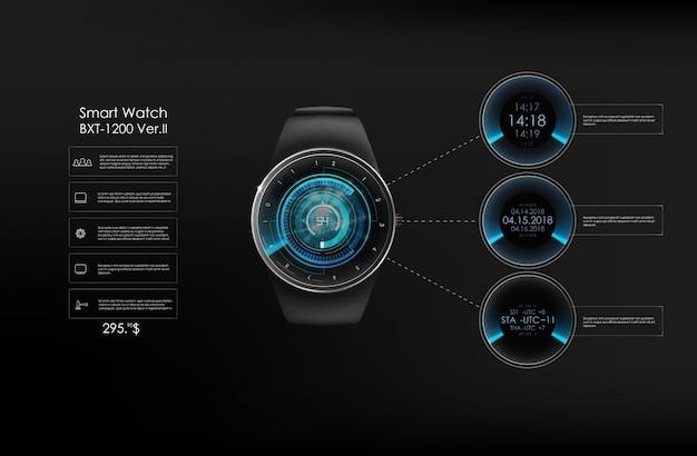 Реалистичная иллюстрация умных часов, технологических функций и текста шаблона. умная иллюстрация. Premium векторы