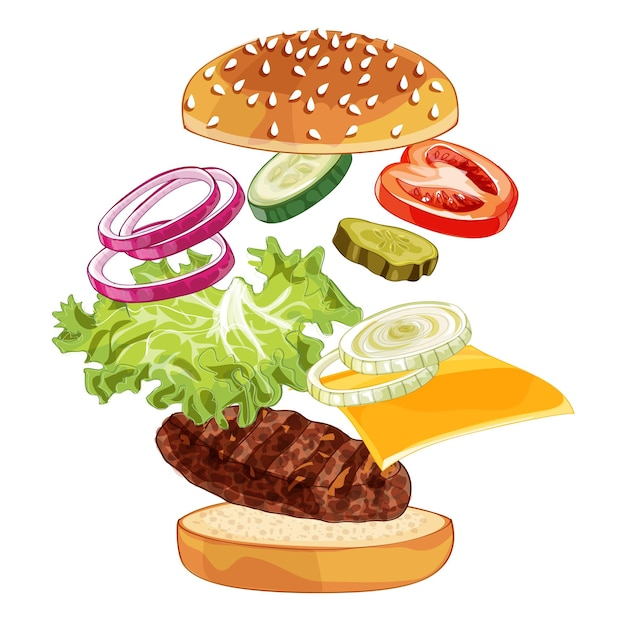 Realistic illustration pattern of jumping burger, delicious exploded hamburger with ingredients lettuce, onion, patty, tomato, cheese, bun isolated on white background Premium Vector