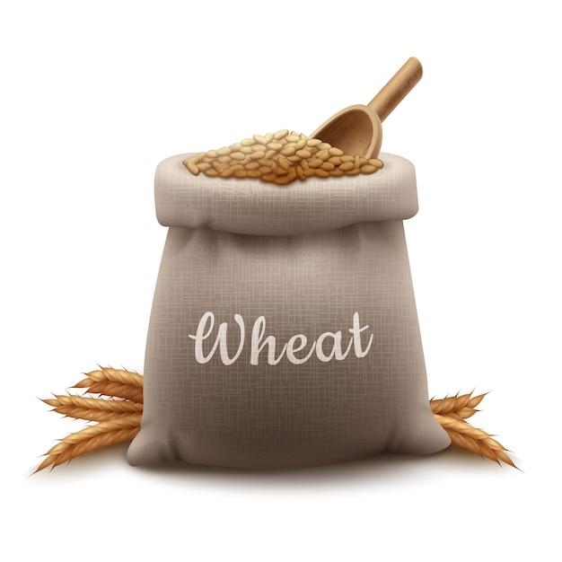 Реалистичная иллюстрация мешок зерна пшеницы с лопатой и колосками злаков Premium векторы