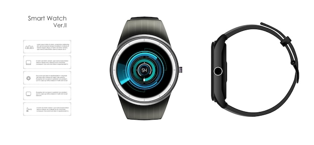 Realistic illustration of smart watch, technology functions and template text. Premium Vector
