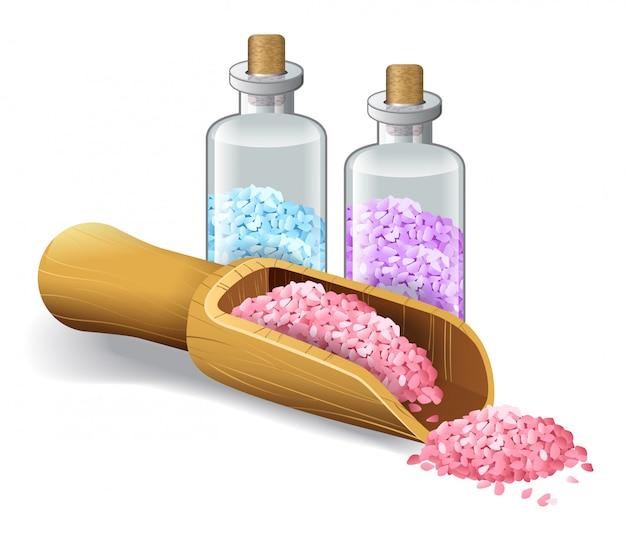 Realistic illustration of spa salts. salon, bath, sea, bottle, scoop. body care concept. Free Vector