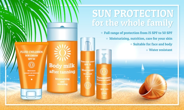 Realistic illustration of sunscreen packaging Premium Vector