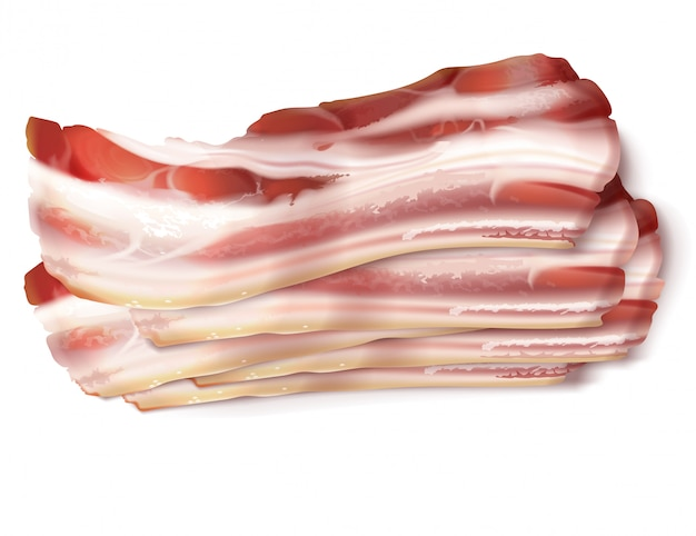 Realistic illustration of thin bacon strips, rashers, fresh, raw or smoked Free Vector