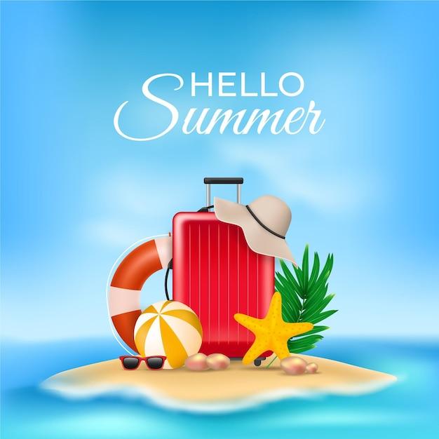 こんにちは夏のメッセージと現実的なイラスト 無料ベクター