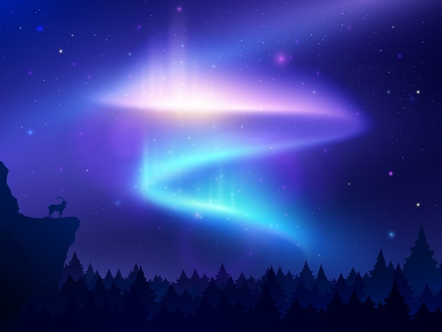 Realistic illustration with northern lights in night sky over forest and mountain Free Vector