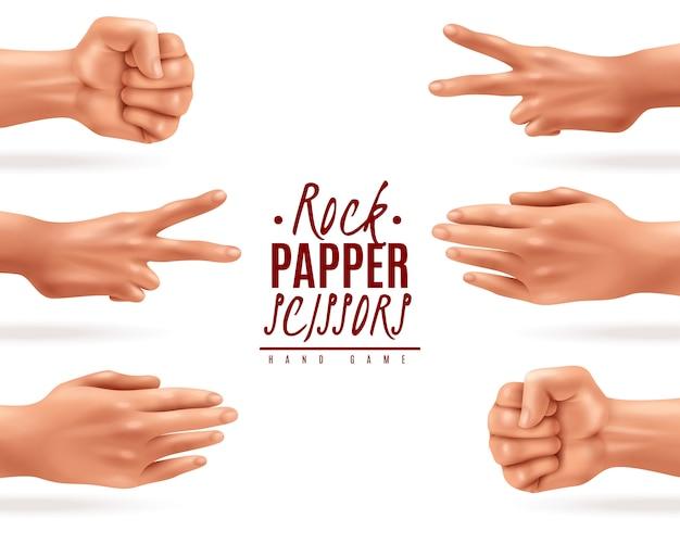 Реалистичная иллюстрация с процессом игры руки бумажных ножниц утеса изолировала Бесплатные векторы