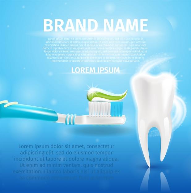 リアルなイメージ健康な歯と3 dの歯磨き粉 Premiumベクター