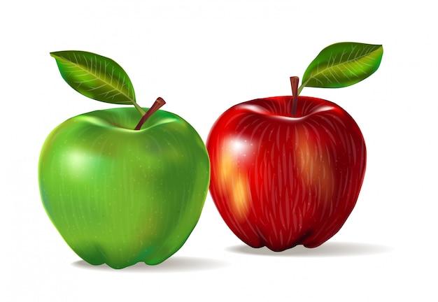 2つの果物のリアルなイメージ:皮の質感を持つ赤と緑のリンゴ。影とlievesと白い背景で隔離の2つのリンゴのセットです。 Premiumベクター