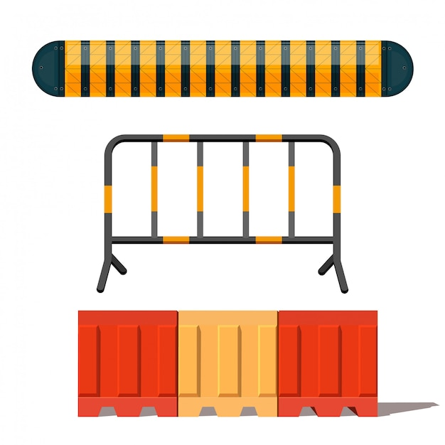 Realistic image of a road barrier Premium Vector