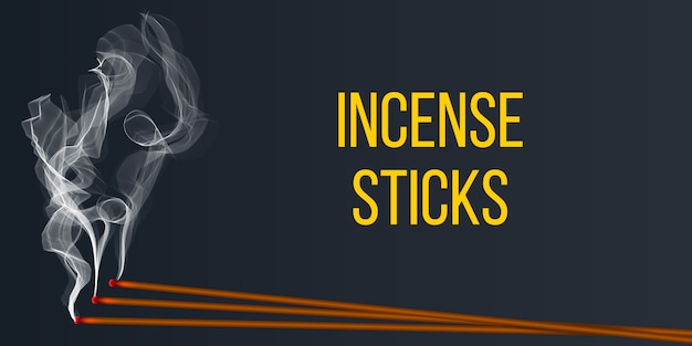 Realistic incense stick aroma with smoke. Premium Vector