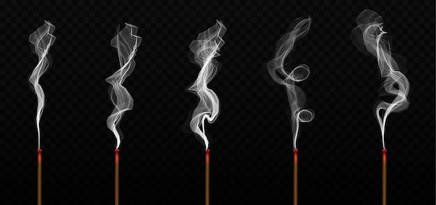 Realistic incense stick aroma with smoke. Premium Vector