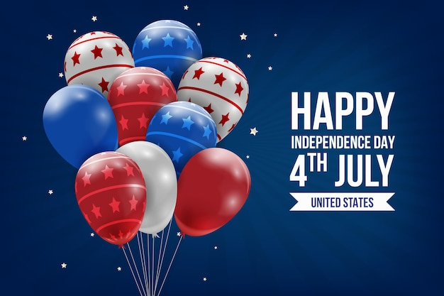 Realistic independence day balloons background Free Vector