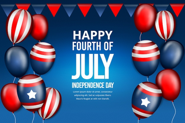 Realistic independence day balloons wallpaper Free Vector