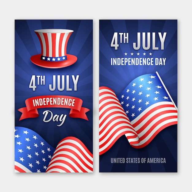 Realistic independence day banners with flag and hat Premium Vector