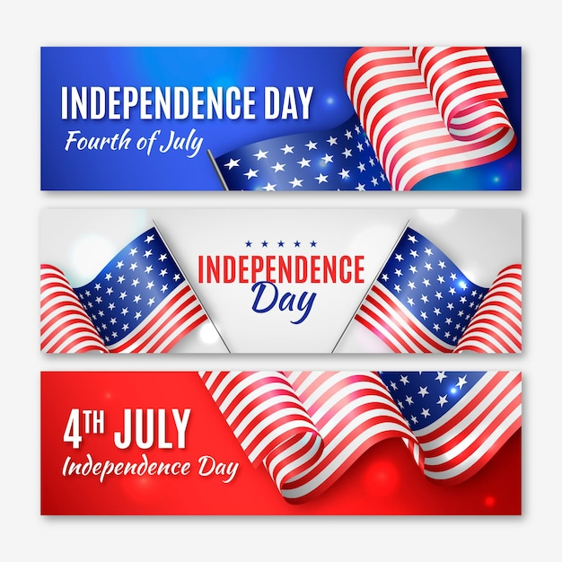 Realistic independence day banners with flags Premium Vector