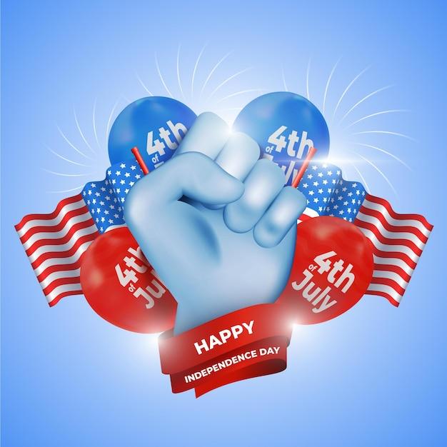 Realistico concetto di festa dell'indipendenza Vettore gratuito