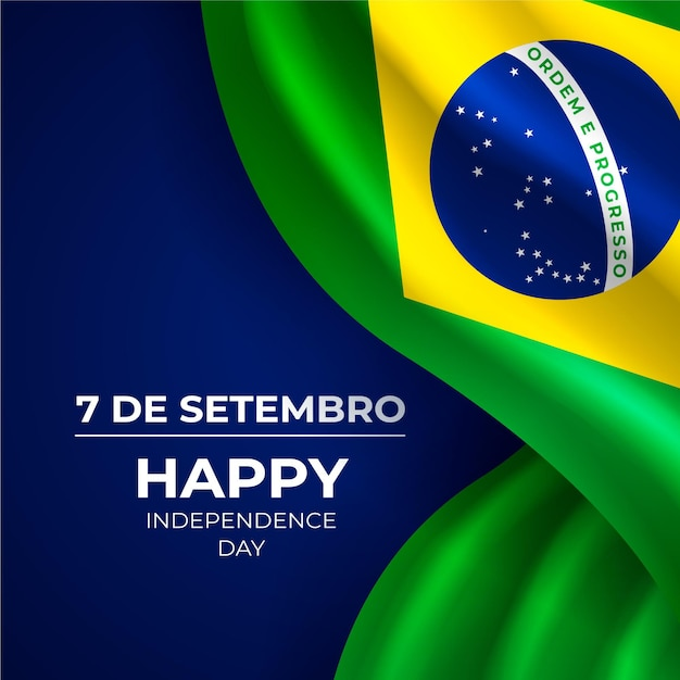 ブラジルの背景の現実的な独立記念日 無料ベクター