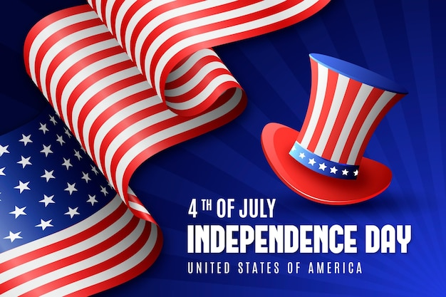 Realistic independence day with flag and hat Premium Vector