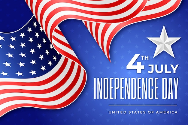 Realistic independence day with flag Free Vector