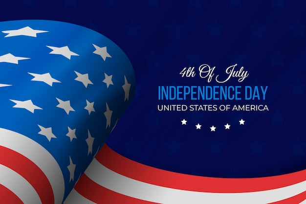 Realistic independence day with flag Premium Vector