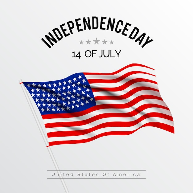 Realistic independence day Free Vector