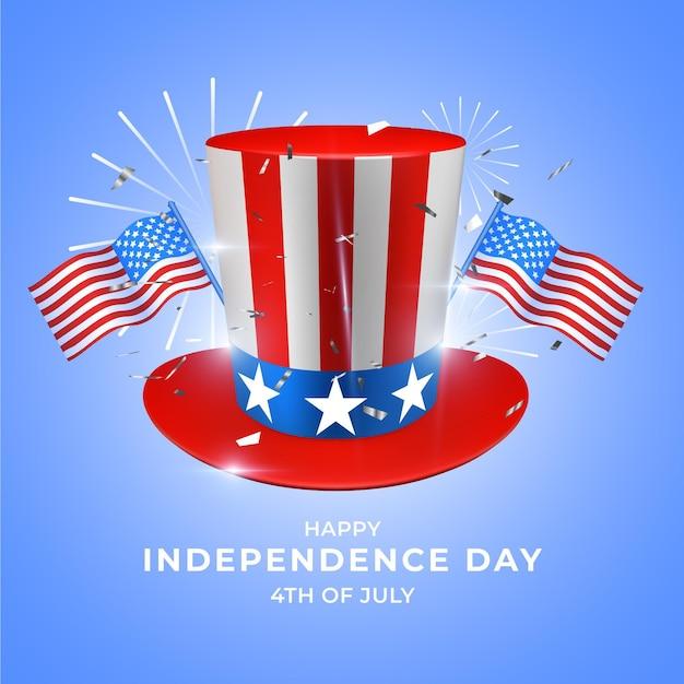 Realistico giorno dell'indipendenza Vettore gratuito