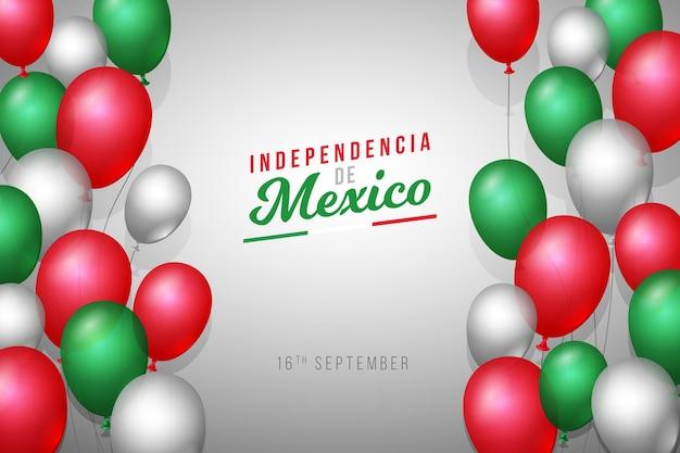 Realistic independencia de méxico balloon background Free Vector