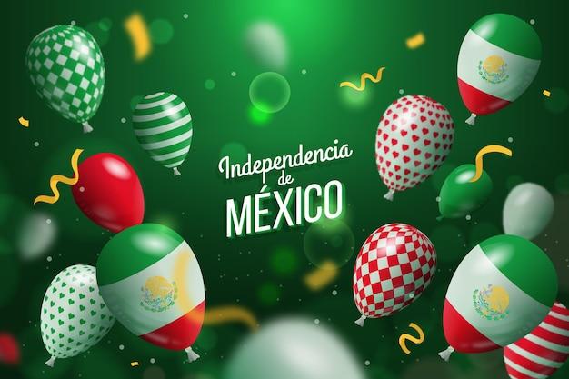 Realistic independencia de mexico balloon background Premium Vector