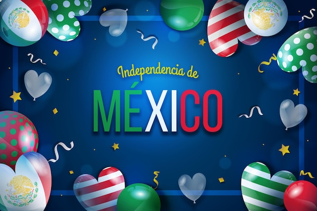 Realistic independencia de mexico balloon wallpaper Free Vector